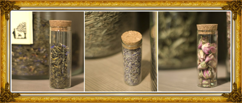 lavendar vials collage